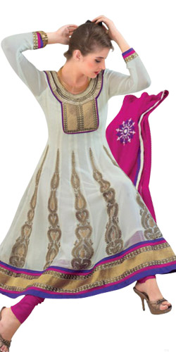 Beautiful White Georgette Top Salwar from Rivaa
