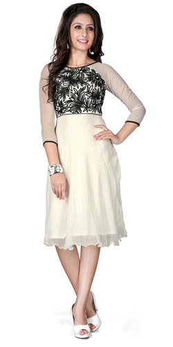 Superb Georgette Embroidered Kurti in White and Black Colour