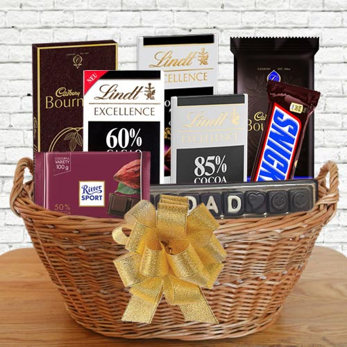 Delicious Gift Basket of Dark Chocolates for Dad