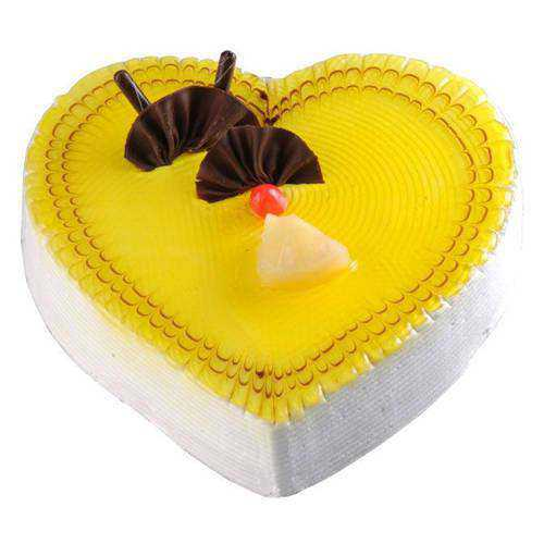 Tasty Heart-Shaped Pineapple Cake