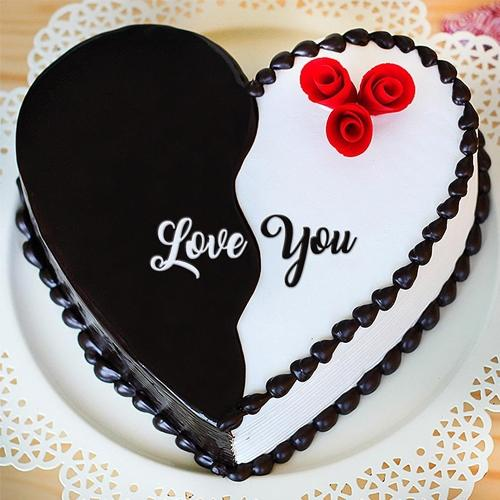 Sumptuous Propose Day Gift of Chocolate Vanilla Fusion Cake in Heart Shape