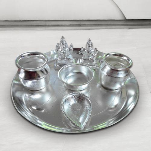 Wonderful Silver Plated Puja Thali with Silver Plated Lakshmi Ganesha