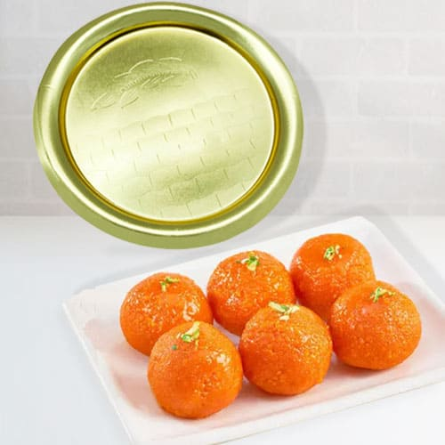 Lovely Pure Ghee Laddu from Haldiram with Golden Plated Thali