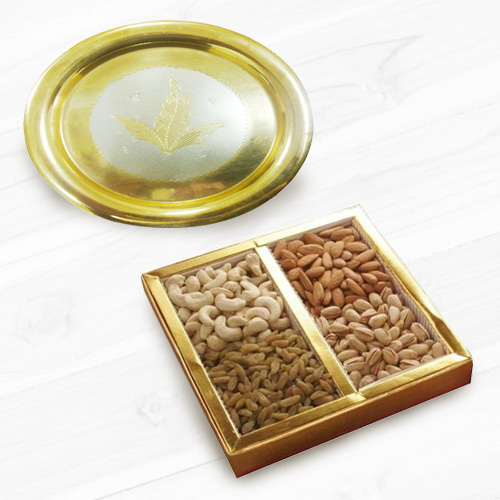 Golden Plated Thali with Assorted Dry Fruits