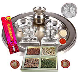 Exclusive Silver Plated Laxmi Puja Hamper with Dry Fruits