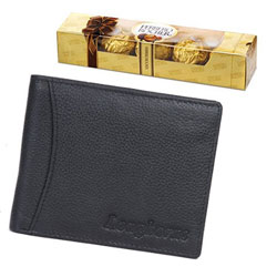 Hamper of Ferrero Rocher Chocolate with Longhorns Leather Wallet