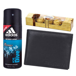 Gift of Ferrero Rocher Chocolate with Longhorn Wallet n Addidas Body Spray for Mens