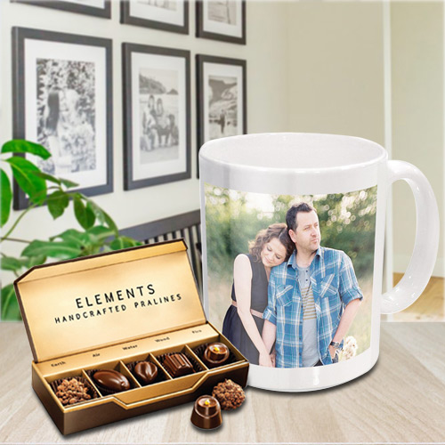 Superb Personalized Coffee Mug with Premium Chocolates from ITC