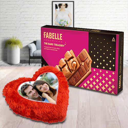 Delectable ITC Fabelle Chocolate Box with a Personalized Heart Shape Cushion