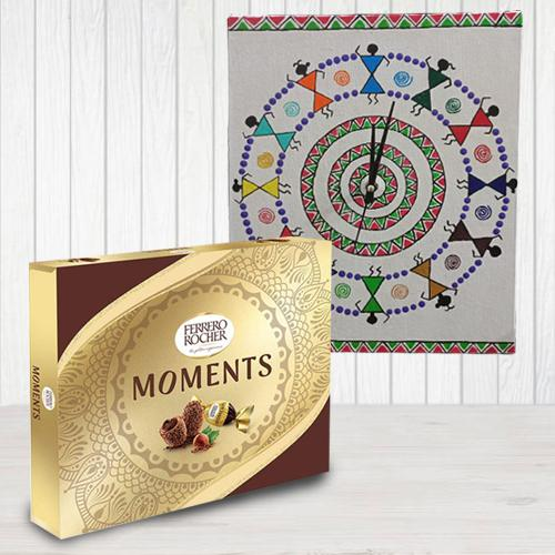 Send Designer Warli Art Wall Clock n Ferrero Rocher Chocolates