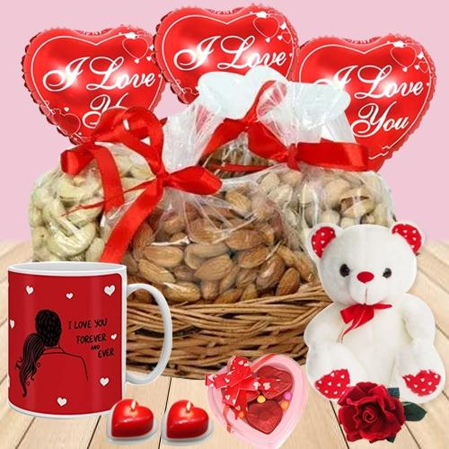 Premium Dry Fruits Basket with Valentine Essentials
