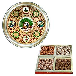 Exquisite Subh Labh Stainless Steel Thali with Assorted Dry Fruits