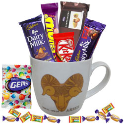Spectacular Mug with Aries Zodiac Sign Print and Mouth-watering Chocolates Hamper