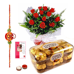 Stunning Combo Gift of Ferrero Rocher Chocolates and Basket of Roses with Free Rakhi, Roli Tika and Chawal for your Dear Brother