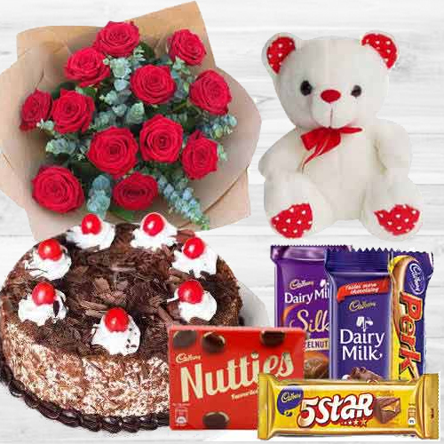 Teddy with Black Forest Cake, Mixed Chocos N Dutch Roses
