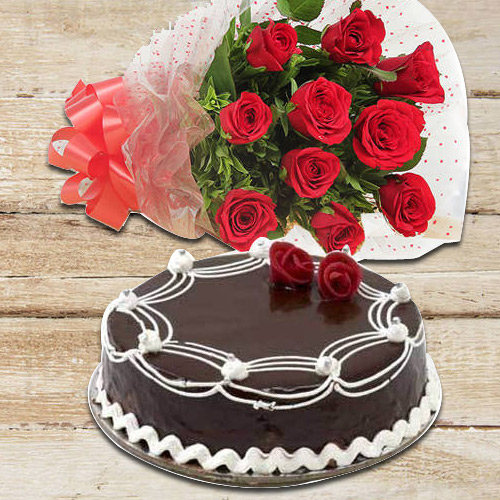 Cheerful 10 Red Roses with 1/2 Kg Chocolate Cake