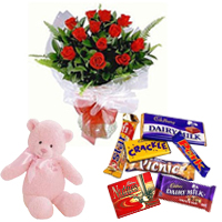 Teddy with Red Rose Bunch N Cadbury Celebrations Combo