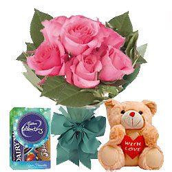 Chocos with Teddy N Pink Roses