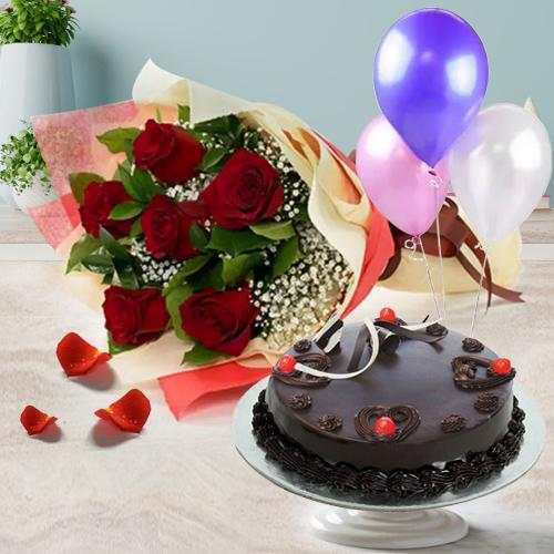 Balloons with Red Roses Bunch N Truffle Cake