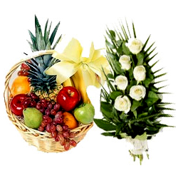 Delightful Fruits Basket N Rose Bouquet
