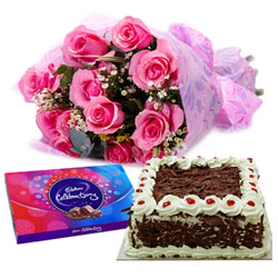 Combo of Cake, Pink Rose Arrangement with Cadbury Celebrations