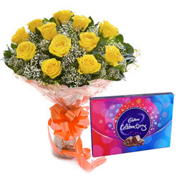 Fabulous Combo of Cadbury Celebration and Yellow Roses Bouquet