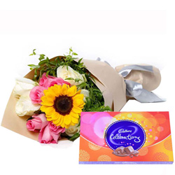 Mesmerizing Mixed Flowers Bouquet and Cadbury Celebrations