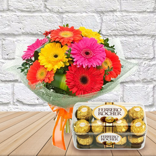 Anniversary Thrilling Combo of Ferrero Rocher with Beautiful Bouquet of Mixed Gerbera