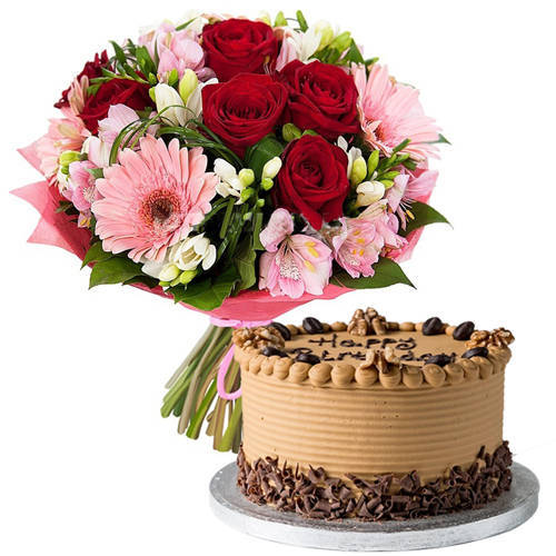 Captivating Bouquet of Mixed Flowers with Coffee Cake