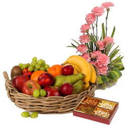 Superior Combo of Pink Carnations Basket and Top-Quality Fresh Fruits Basket with Assorted Dry Fruits