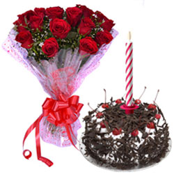 Delicious Black Forest Cake with Candles and Red Roses Bouquet