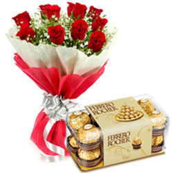 Tasty Ferrero Rocher Chocolates with Red Roses Bouquet