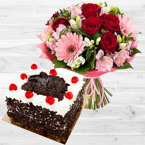 Mixed Flowers Bouquet with Black Forest Cake