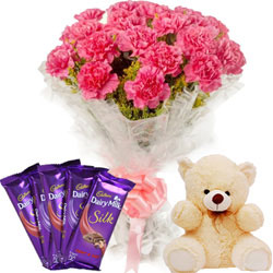 Beautiful Bouquet of Pink Carnations with Cute Teddy N Chocolates