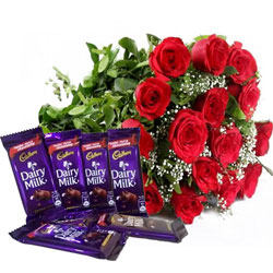 Sweet Pack of Dairy Milk Chocolates with Striking Bouquet of Roses