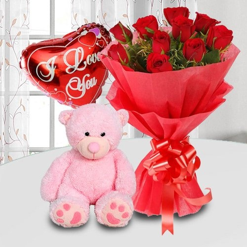 Exquisite Gift of Roses, Teddy Bear and Balloons