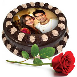 Charming Single Red Rose with Chocolate Photo Cake