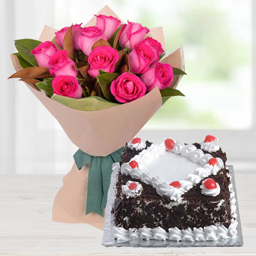 Charming Pink Roses Bunch with Black Forest Cake<br>