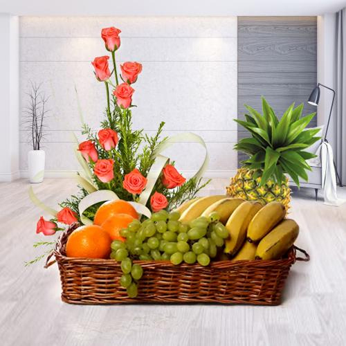 Fresh Fruits Basket with Pink Roses