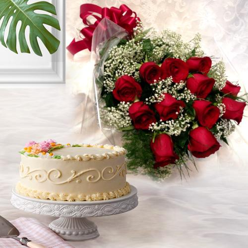 Gift of Dutch Roses with Eggless Cake