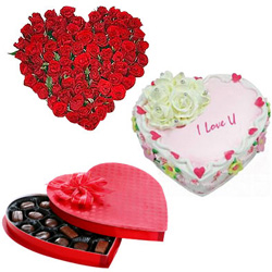Combo of Red Roses with Cake N Chocolates Box