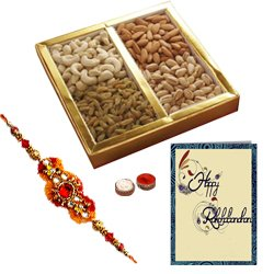 Delectable Gift Pack of Mixed Dry Fruits with Free Rakhi, Roli Tilak and Chawal for the Occasion of Raksha Bandhan