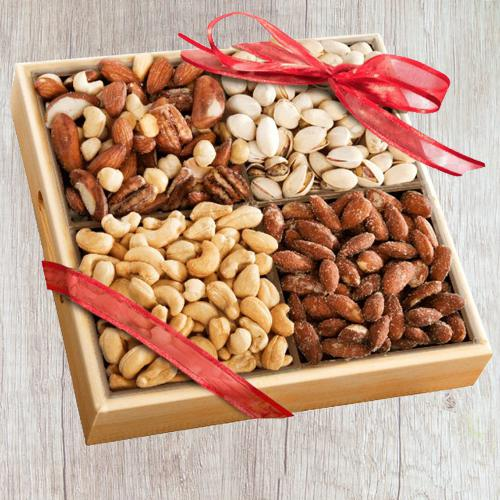 Exclusive Wooden Tray of Premium Salted Dry Fruits