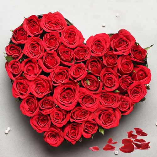 Stunning Heart Shaped Arrangement of Red Roses