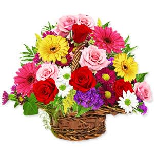 Color-Coordinated Fresh Flowers Basket