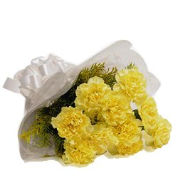 Romantic Yellow Coloured Carnations Arrangement