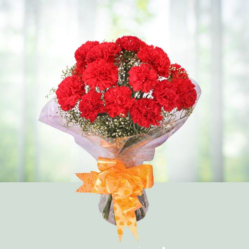Mind Blowing Red Carnations Bouquet