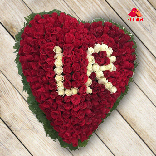 Outstanding Red Rose Heart Shape Arrangement (Inscribed Alphabet as per choice)
