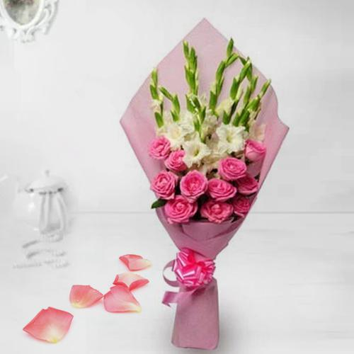 Delicate Pink Roses n White Gladiolus Bouquet