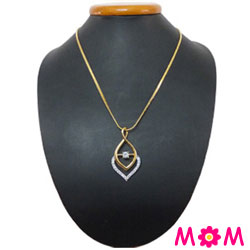 Stupendous Flame Gold Plated Necklace with Fernanda Pendant